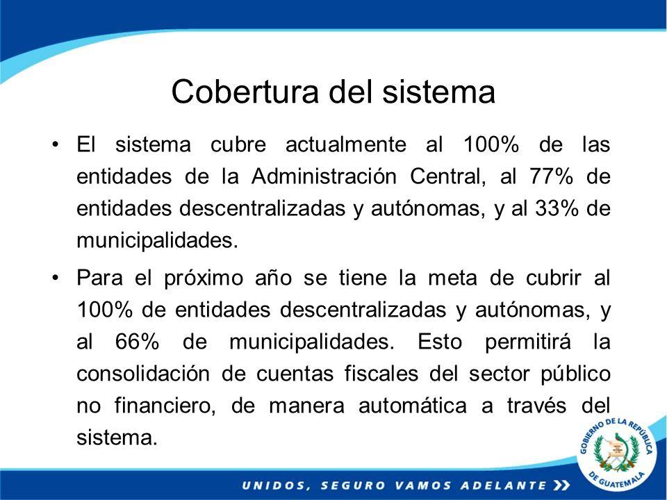 Cobertura del sistema El sistema cubre actualmente al 100% de las entidades de la Administración Central, al 77% de entidades descentralizadas y autón