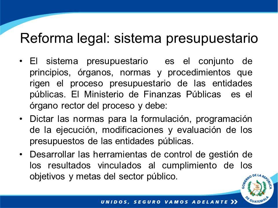 Reforma legal: sistema presupuestario El sistema presupuestario es el conjunto de principios, órganos, normas y procedimientos que rigen el proceso pr