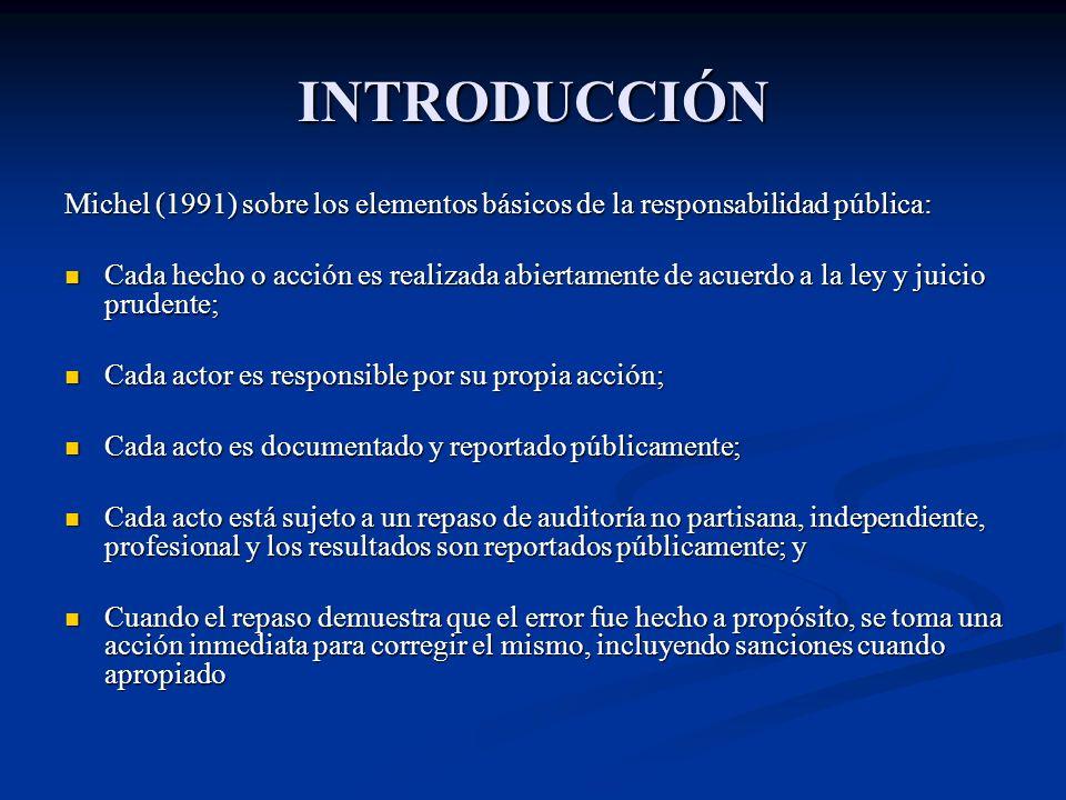 INTRODUCCIÓN Michel (1991) sobre los elementos básicos de la responsabilidad pública: Cada hecho o acción es realizada abiertamente de acuerdo a la le