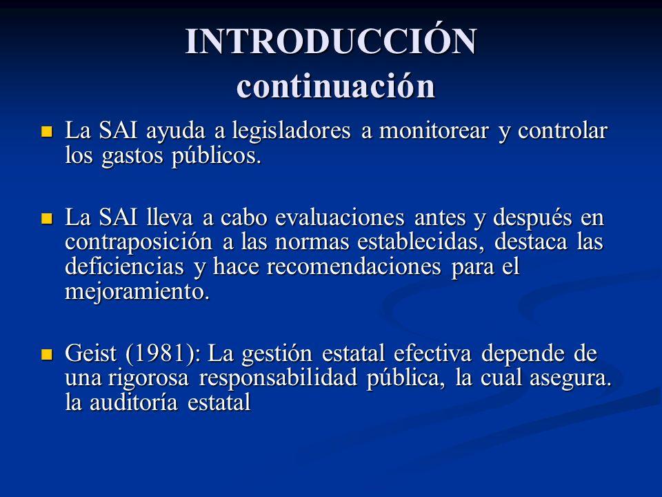 INTRODUCCIÓN continuación La SAI ayuda a legisladores a monitorear y controlar los gastos públicos. La SAI ayuda a legisladores a monitorear y control