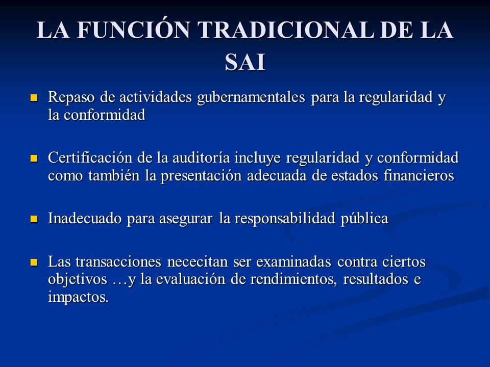 LA FUNCIÓN TRADICIONAL DE LA SAI Repaso de actividades gubernamentales para la regularidad y la conformidad Repaso de actividades gubernamentales para