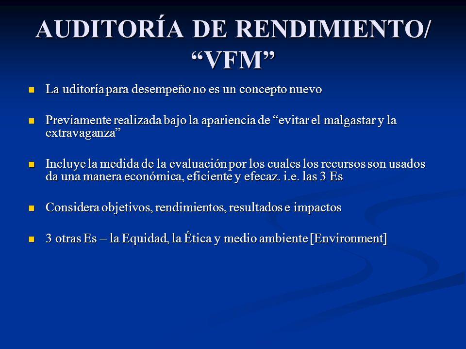 AUDITORÍA DE RENDIMIENTO/ VFM La uditoría para desempeño no es un concepto nuevo La uditoría para desempeño no es un concepto nuevo Previamente realiz