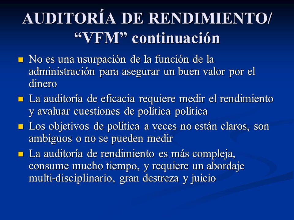 AUDITORÍA DE RENDIMIENTO/ VFM continuación No es una usurpación de la función de la administración para asegurar un buen valor por el dinero No es una