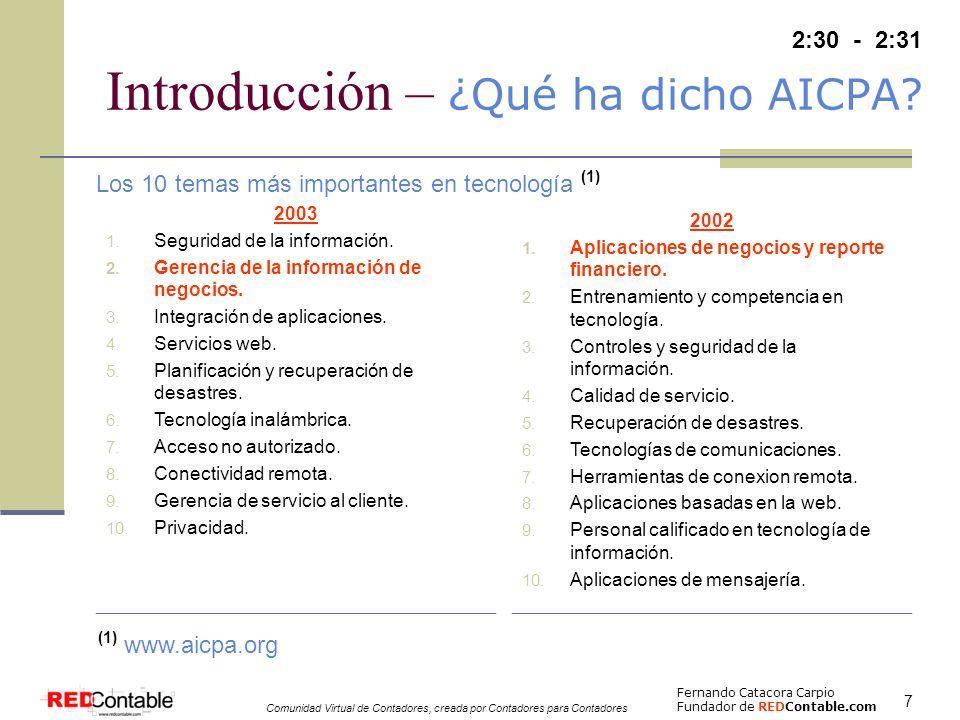 Fernando Catacora Carpio Fundador de REDContable.com Comunidad Virtual de Contadores, creada por Contadores para Contadores 8 Evolución del XBRL Dic-1998 Dic-1999Dic-2000 Dic-2001 Dic-2002 Octubre 1998 AICPA decide financiar un proyecto de prototipo de EEFFs en XML Diciembre 1998 El 31 de diciembre se termina el prototipo de EEFFs en XML Junio 1999 AICPA solicita la elaboración de un plan de negocios para el proyecto y se completa el 15 de Junio de 1999 14 de Octubre de 1999 se da la primera reunión del Comité Directivo de XFRML (2) Octubre 1999 Se publica la especificación XBRL 2.0 bajo US GAAP y empresas del sector industrial Diciembre 2001 Se emite la especificación XBRL 2.0a bajo US GAAP el 15 de Octubre de 2002 Octubre 2002 Abril 1998 Charles Hoffman desarrolló prototipos de EEFFs y cédulas de auditoría en XML Septiembre 1998 Charles Hoffman realizó una presentación del potencial de XML al equipo de tecnología del AICPA Julio 1999 12 empresas se unen al esfuerzo de AICPA Octubre 1999 Charles Hoffman finaliza un prototipo de XFRML para EEFFs basados en XML Julio 2000 Se publica el 31 de Julio la especificación XBRL 1.0 bajo US GAAP y empresas del sector industrial Febrero 2001 Se emite el primer estándar XBRL bajo NIC-IFRS Noviembre 2002 Se emite la segunda versión de XBRL bajo NIC-IFRS 1 año 9 meses (2) XFRML = eXtensible Financial Reporting Markup Language Ene-2005 2 años 1 mes Se emite la ultima versión de XBRL bajo NIC-IFRS Enero 2005 La experiencia NIC-NIIF 2:32 - 2:35