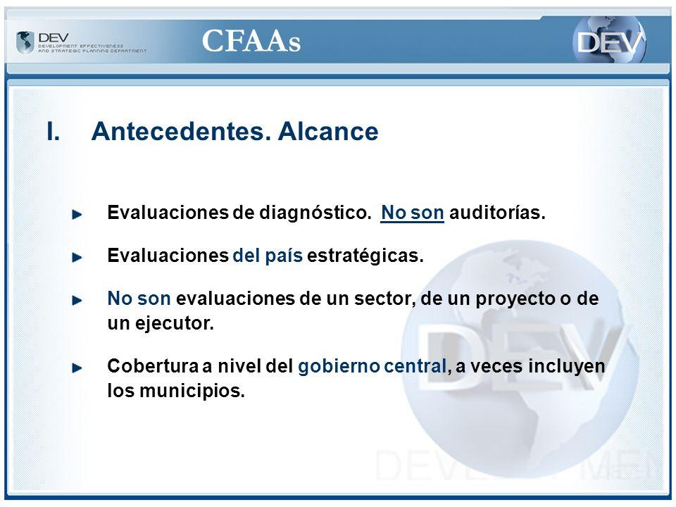 CFAAs IV.Procedimientos ©Otra tendencia – Realizar los CFAAs/CPARs conjuntamente (o en coordinación) con los PERs (Public Expenditure Reviews) y los ROSCs sobre Transparencia Fiscal y Gobernabilidad ©Tienen un componente sobre la gestión financiera/fiscal ©Muestran la relevancia del CFAA/CPAR ©Reportan sobre los sectores
