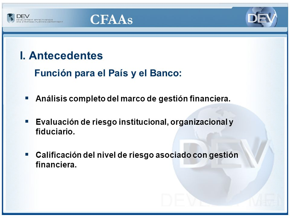 CFAAs Base de diálogo para simplificar y aumentar la economía, eficiencia y transparencia de la gestión financiera.
