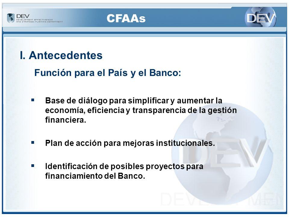 CFAAs IV.Procedimientos– CFAA Los CFAA incluyen: Entrevistas, Revisión de documentos (por ejemplo, las leyes, los manuales, los organigramas, los documentos de licitación, contratos típicos, documentos relacionados con la lucha contra la corrupción) y Presentación de sistemas, procesos financieros y de adquisiciones.