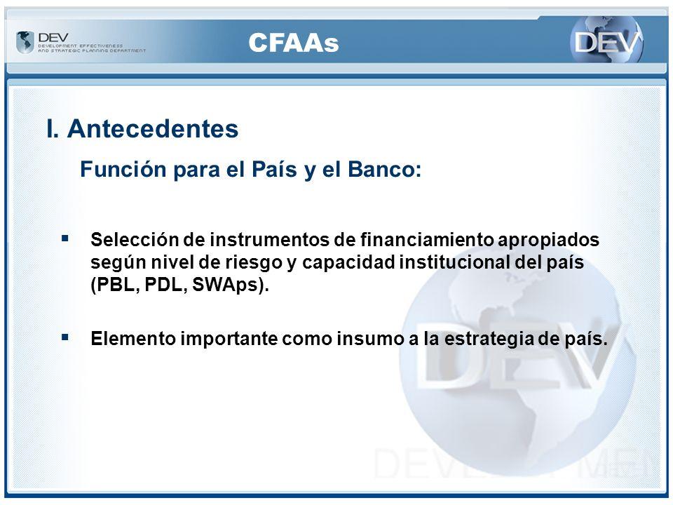 CFAAs VI.Conclusión ©Uso de los resultados como insumo al: SECF para determinar los riesgos del país, grado de confiabilidad de los sistemas del país (para los PDLs, SWAps, PBLs y los préstamos sectoriales), estrategia del país, programación de préstamos nuevos.