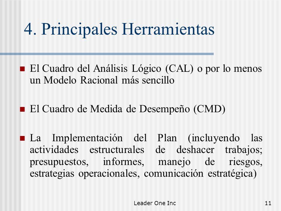 Leader One Inc11 4. Principales Herramientas El Cuadro del Análisis Lógico (CAL) o por lo menos un Modelo Racional más sencillo El Cuadro de Medida de