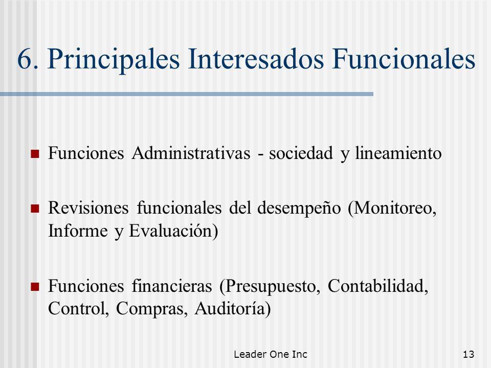 Leader One Inc13 6. Principales Interesados Funcionales Funciones Administrativas - sociedad y lineamiento Revisiones funcionales del desempeño (Monit