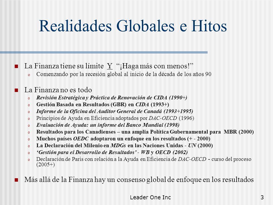 Leader One Inc3 Realidades Globales e Hitos La Finanza tiene su límite Y ¡Haga más con menos! o Comenzando por la recesión global al inicio de la déca