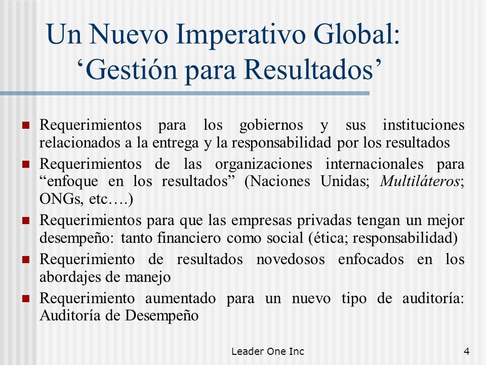 Leader One Inc4 Un Nuevo Imperativo Global: Gestión para Resultados Requerimientos para los gobiernos y sus instituciones relacionados a la entrega y