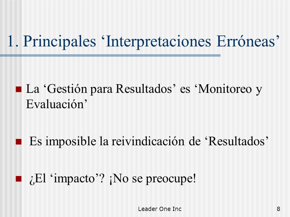 Leader One Inc8 1. Principales Interpretaciones Erróneas La Gestión para Resultados es Monitoreo y Evaluación Es imposible la reivindicación de Result