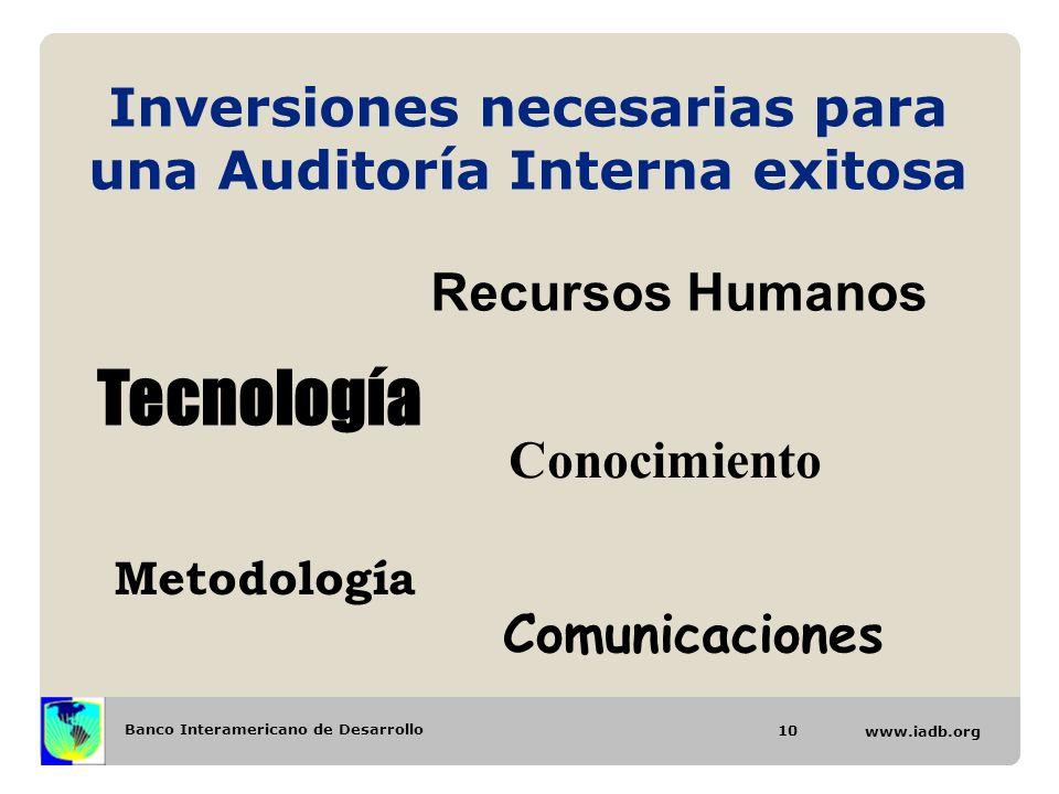 Banco Interamericano de Desarrollo www.iadb.org Inversiones necesarias para una Auditoría Interna exitosa Recursos Humanos Tecnología Conocimiento Met