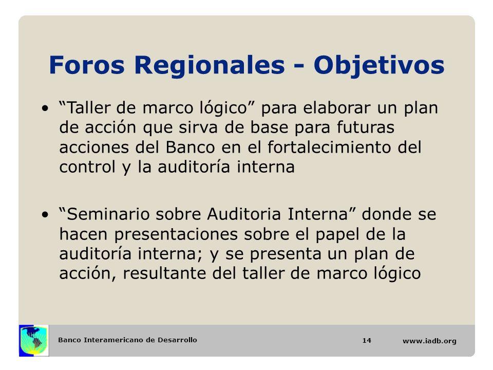 Banco Interamericano de Desarrollo www.iadb.org Foros Regionales - Objetivos 14 Taller de marco lógico para elaborar un plan de acción que sirva de ba