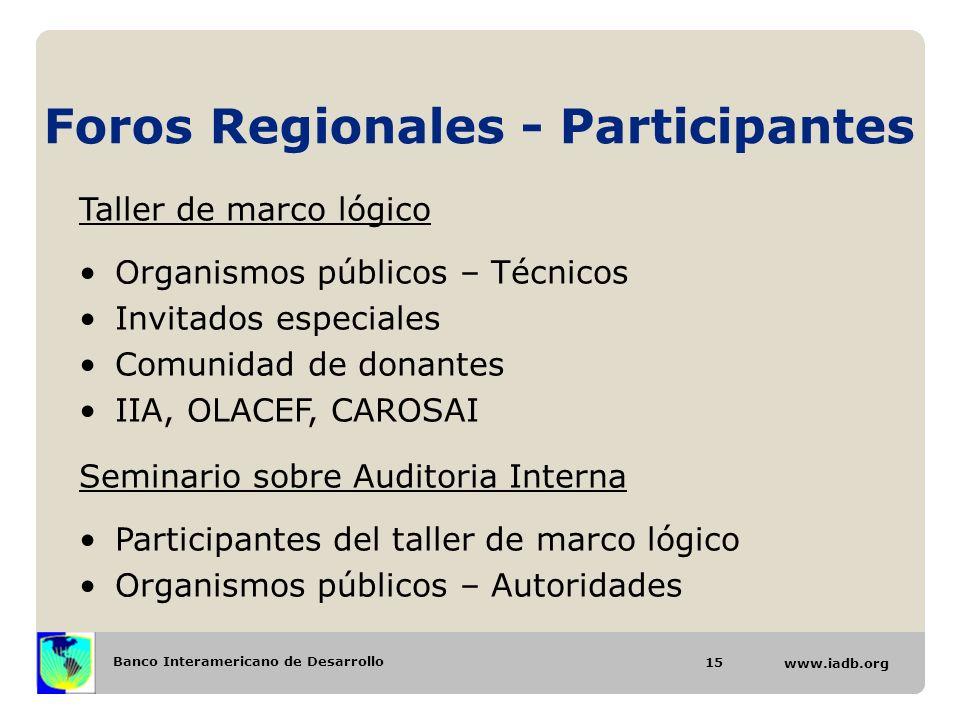 Banco Interamericano de Desarrollo www.iadb.org Foros Regionales - Participantes 15 Taller de marco lógico Organismos públicos – Técnicos Invitados es