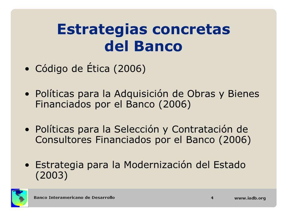 Banco Interamericano de Desarrollo www.iadb.org Estrategias concretas del Banco Código de Ética (2006) Políticas para la Adquisición de Obras y Bienes
