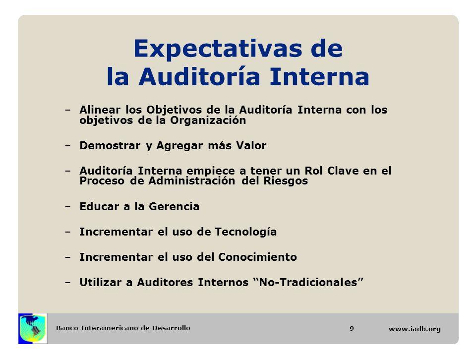 Banco Interamericano de Desarrollo www.iadb.org Expectativas de la Auditoría Interna –Alinear los Objetivos de la Auditoría Interna con los objetivos