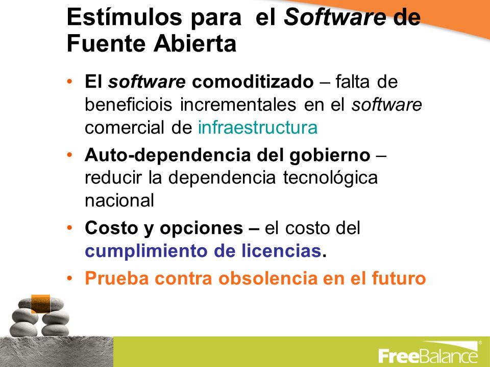Estímulos para el Software de Fuente Abierta El software comoditizado – falta de beneficiois incrementales en el software comercial de infraestructura Auto-dependencia del gobierno – reducir la dependencia tecnológica nacional Costo y opciones – el costo del cumplimiento de licencias.