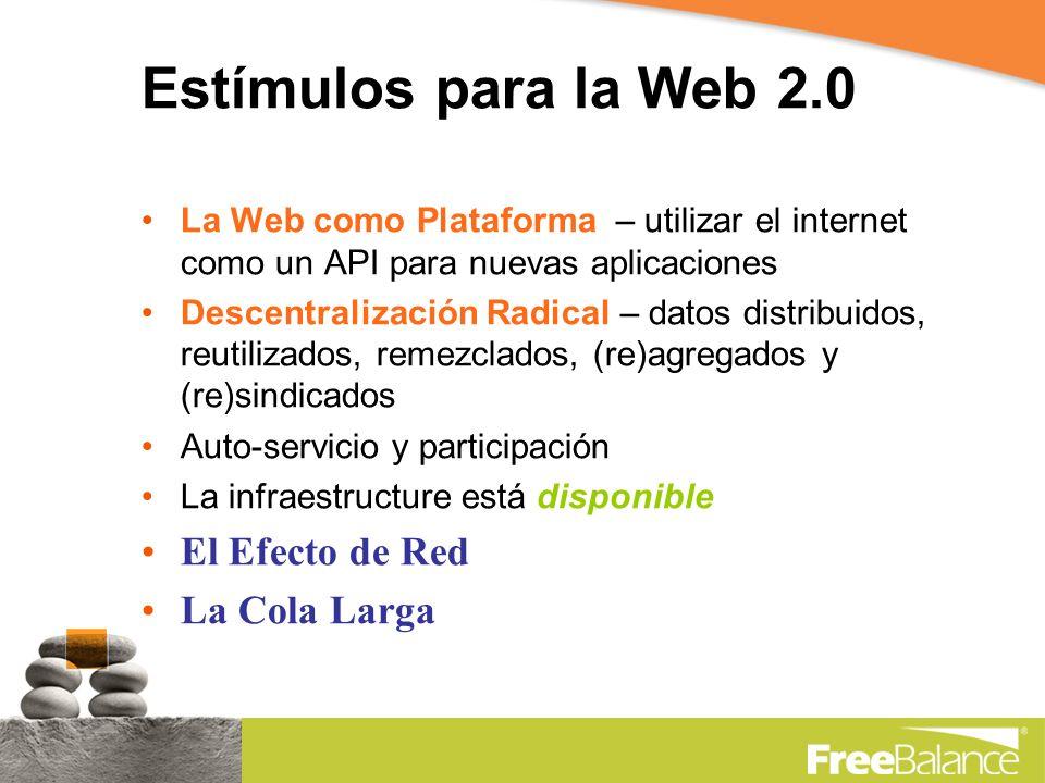 Estímulos para la Web 2.0 La Web como Plataforma – utilizar el internet como un API para nuevas aplicaciones Descentralización Radical – datos distribuidos, reutilizados, remezclados, (re)agregados y (re)sindicados Auto-servicio y participación La infraestructure está disponible El Efecto de Red La Cola Larga