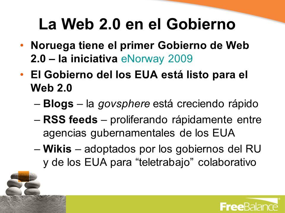 La Web 2.0 en el Gobierno Noruega tiene el primer Gobierno de Web 2.0 – la iniciativa eNorway 2009 El Gobierno del los EUA está listo para el Web 2.0 –Blogs – la govsphere está creciendo rápido –RSS feeds – proliferando rápidamente entre agencias gubernamentales de los EUA –Wikis – adoptados por los gobiernos del RU y de los EUA para teletrabajo colaborativo