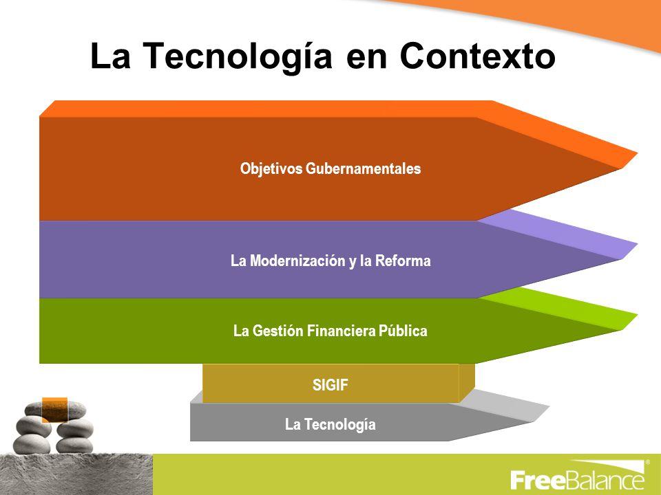 La Tecnología en Contexto La TecnologíaSIGIF La Gestión Financiera Pública La Modernización y la Reforma Objetivos Gubernamentales