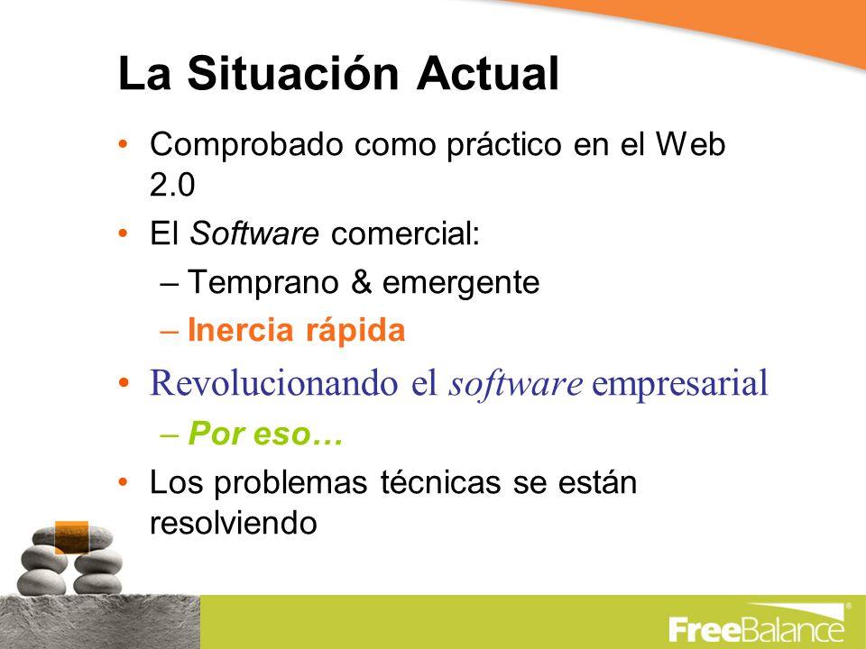 La Situación Actual Comprobado como práctico en el Web 2.0 El Software comercial: –Temprano & emergente –Inercia rápida Revolucionando el software empresarial –Por eso… Los problemas técnicas se están resolviendo