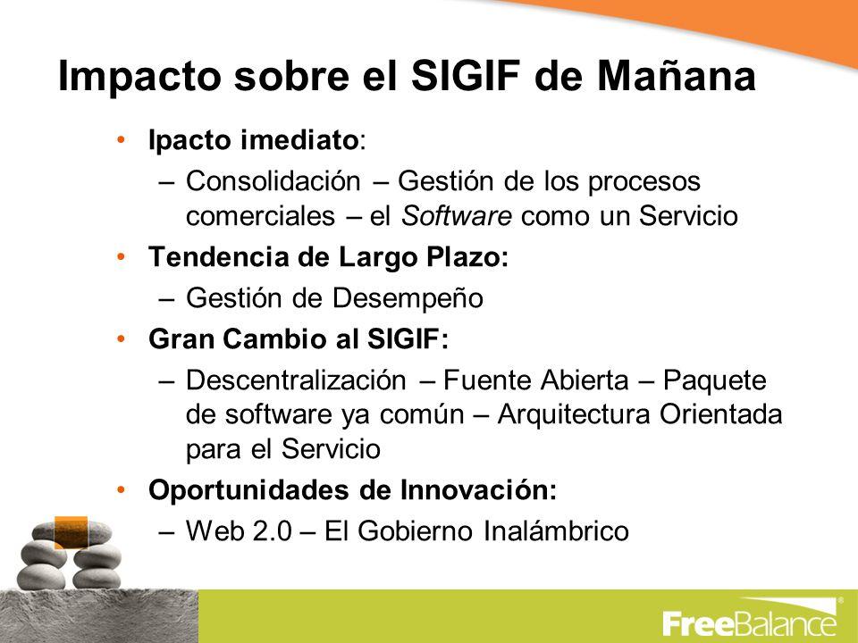 Impacto sobre el SIGIF de Mañana Ipacto imediato: –Consolidación – Gestión de los procesos comerciales – el Software como un Servicio Tendencia de Largo Plazo: –Gestión de Desempeño Gran Cambio al SIGIF: –Descentralización – Fuente Abierta – Paquete de software ya común – Arquitectura Orientada para el Servicio Oportunidades de Innovación: –Web 2.0 – El Gobierno Inalámbrico