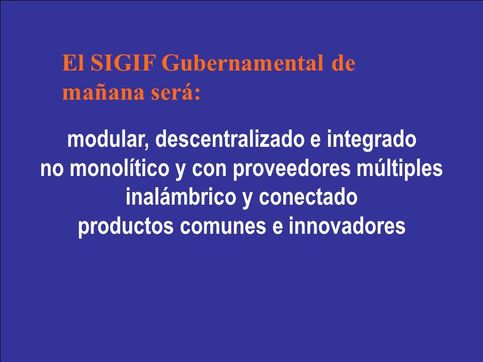 modular, descentralizado e integrado no monolítico y con proveedores múltiples inalámbrico y conectado productos comunes e innovadores El SIGIF Gubernamental de mañana será: