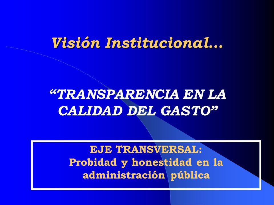 TRANSPARENCIA EN LA CALIDAD DEL GASTO Visión Institucional… EJE TRANSVERSAL: Probidad y honestidad en la administración pública