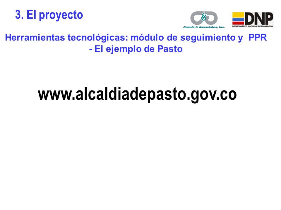 Herramientas tecnológicas: módulo de seguimiento y PPR - El ejemplo de Pasto www.alcaldiadepasto.gov.co 3.