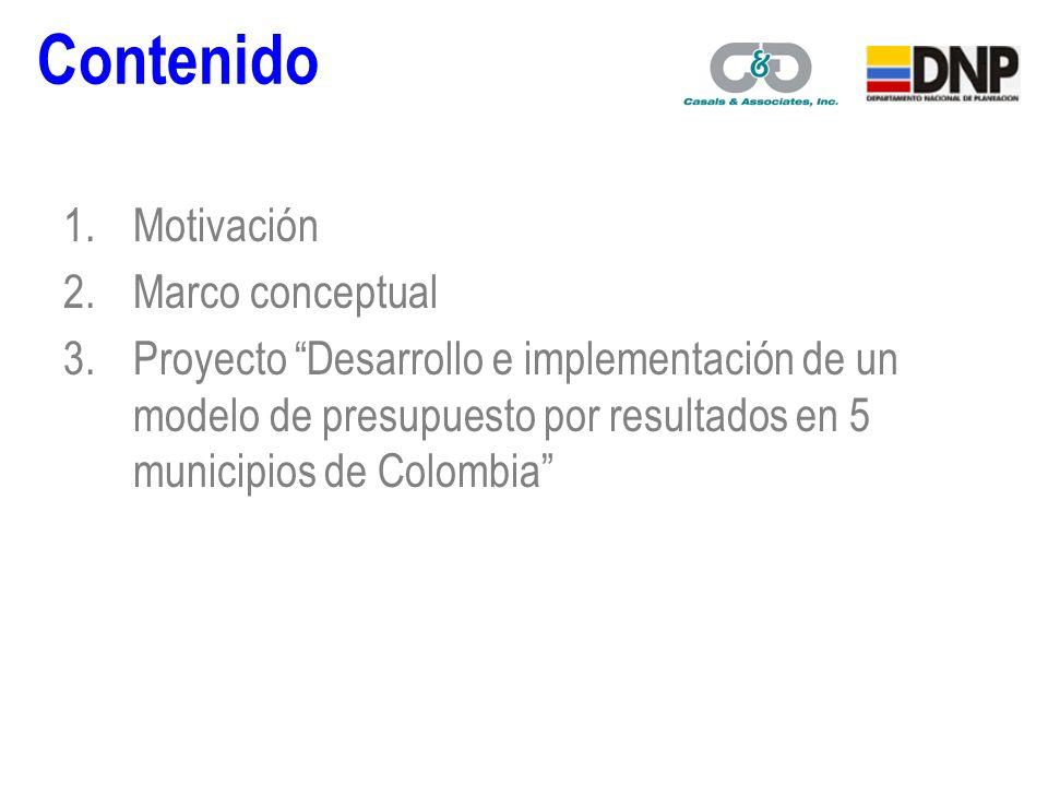 1.Motivación 2.Marco conceptual 3.Proyecto Desarrollo e implementación de un modelo de presupuesto por resultados en 5 municipios de Colombia Contenido