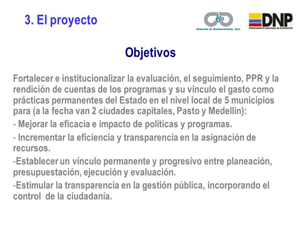 Seguimiento a resultados y evaluación 1 Planeación S&E Ejecución Presupuesto PPR, MGMP y MFMP Información y rendición de cuentas 2 3 Componentes del proyecto 3.