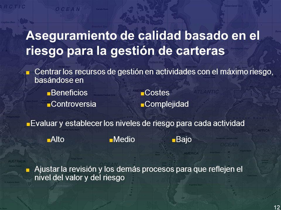 12 Aseguramiento de calidad basado en el riesgo para la gestión de carteras Centrar los recursos de gestión en actividades con el máximo riesgo, basán