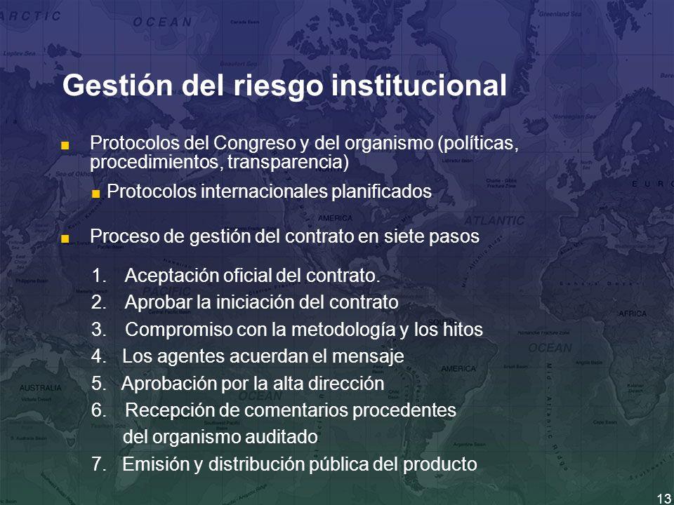 13 Gestión del riesgo institucional Protocolos del Congreso y del organismo (políticas, procedimientos, transparencia) Proceso de gestión del contrato en siete pasos 1.Aceptación oficial del contrato.