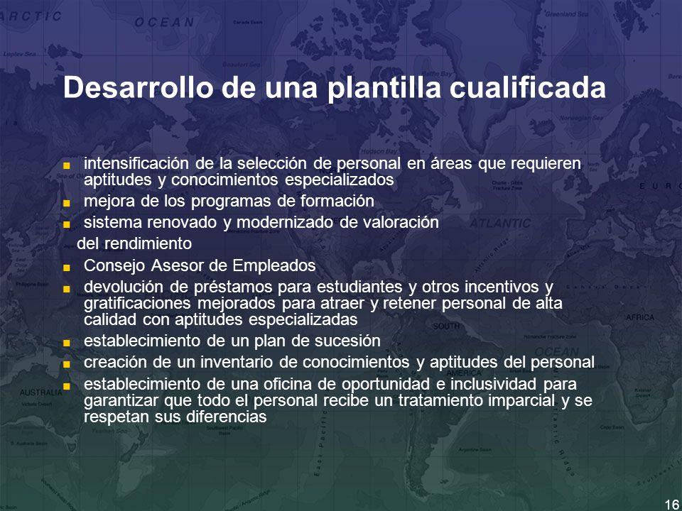 16 Desarrollo de una plantilla cualificada intensificación de la selección de personal en áreas que requieren aptitudes y conocimientos especializados