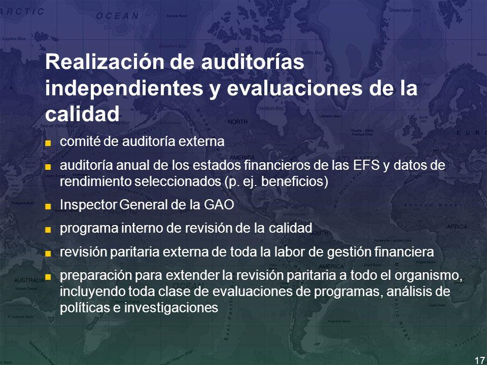 17 Realización de auditorías independientes y evaluaciones de la calidad comité de auditoría externa auditoría anual de los estados financieros de las EFS y datos de rendimiento seleccionados (p.