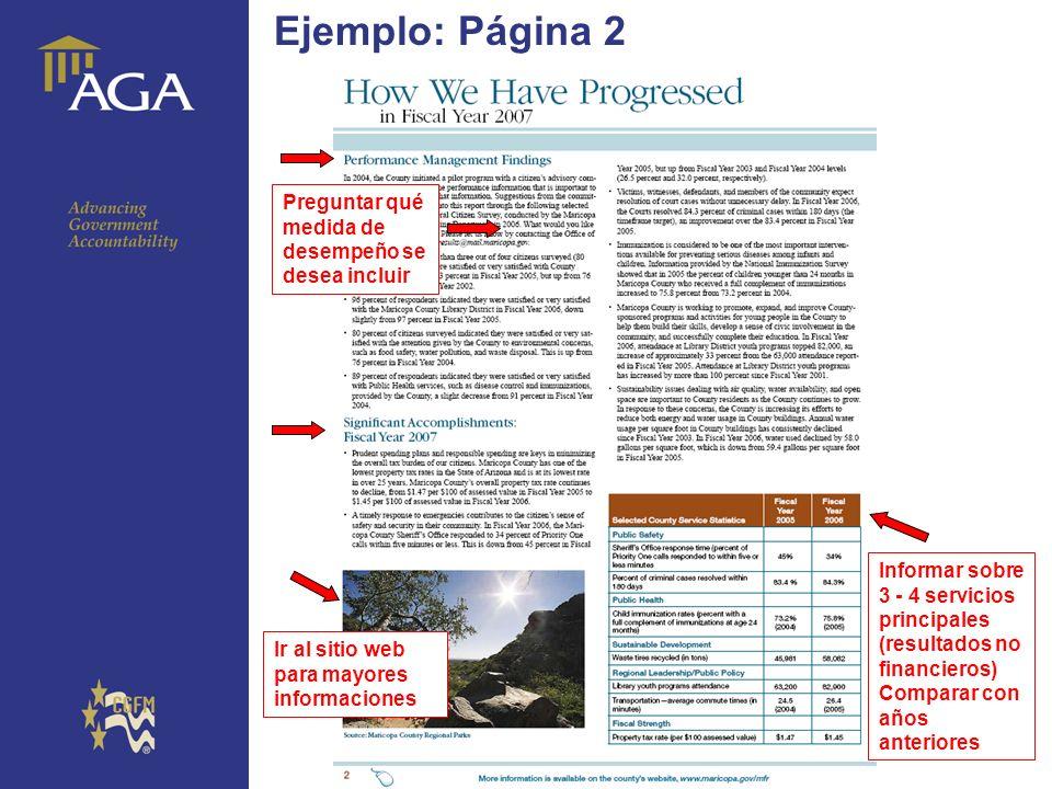 General paragraph Ejemplo: Página 2 Preguntar qué medida de desempeño se desea incluir Informar sobre 3 - 4 servicios principales (resultados no finan