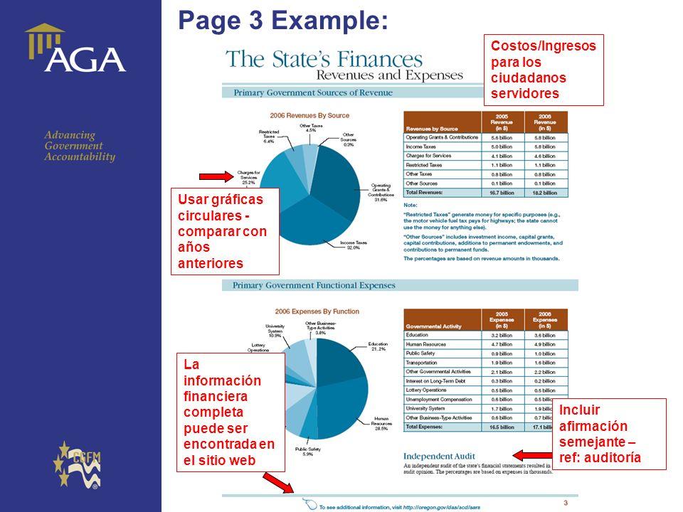 General paragraph Page 3 Example: Incluir afirmación semejante – ref: auditoría Usar gráficas circulares - comparar con años anteriores La información