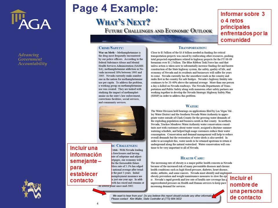 General paragraph Page 4 Example: Incluir una información semejante – para establecer contacto Informar sobre 3 o 4 retos principales enfrentados por