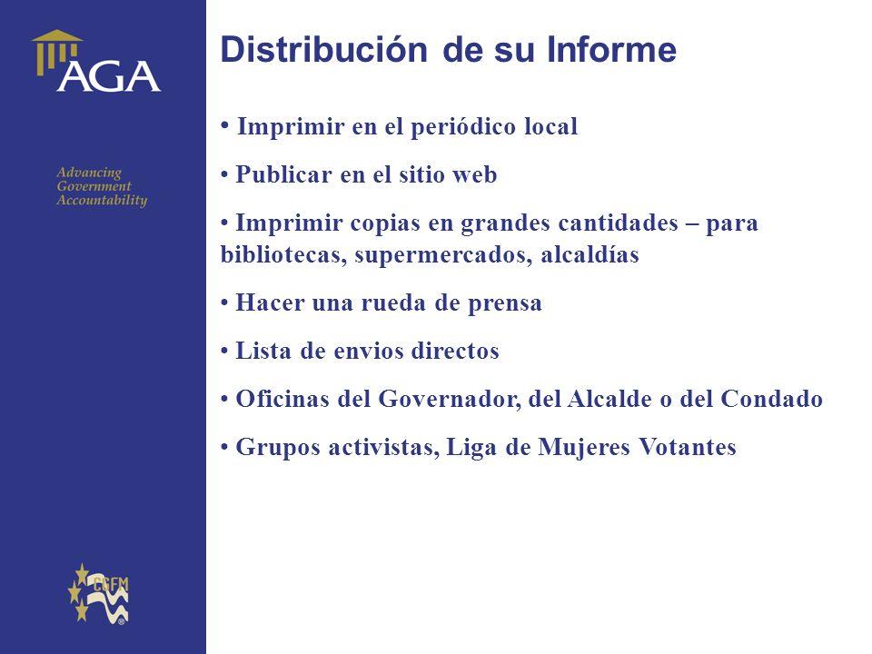 General paragraph Distribución de su Informe Imprimir en el periódico local Publicar en el sitio web Imprimir copias en grandes cantidades – para bibl