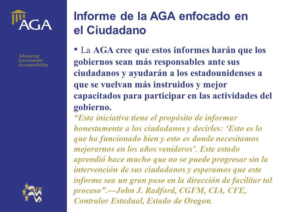 General title Informe de la AGA enfocado en el Ciudadano La AGA cree que estos informes harán que los gobiernos sean más responsables ante sus ciudada