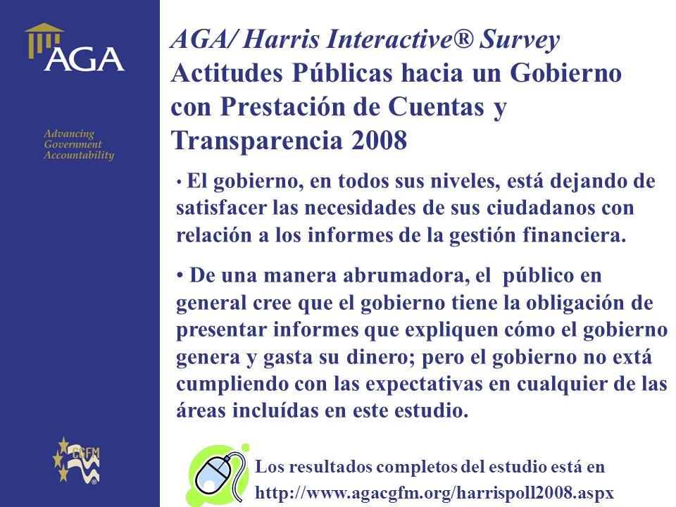 General title AGA/ Harris Interactive® Survey Actitudes Públicas hacia un Gobierno con Prestación de Cuentas y Transparencia 2008 El gobierno, en todo