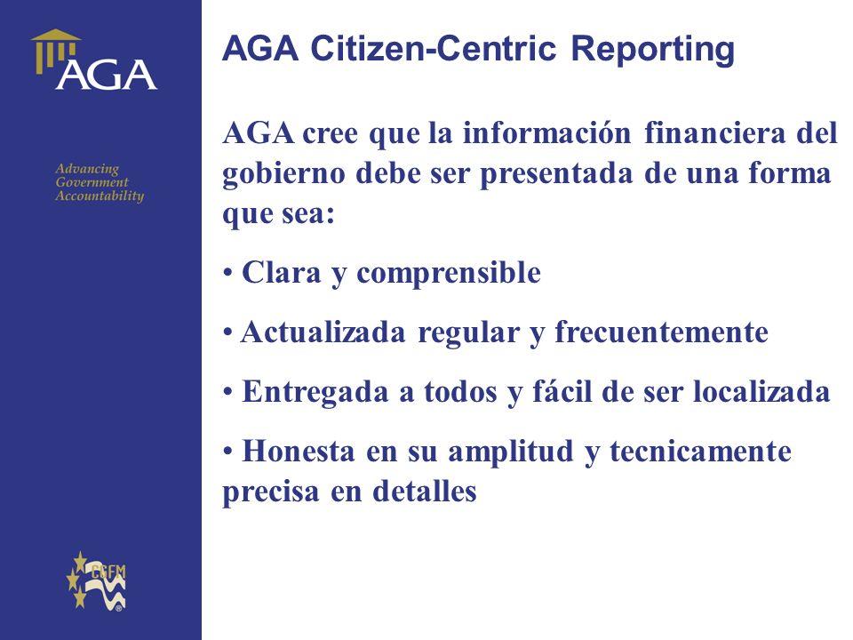 General title AGA Citizen-Centric Reporting La AGA cree que su plantilla de informe con cuatro páginas es de fácil lectura para el ciudadano y puede contribuir para la solución Apoyo a la Liga de Mujeres Votantes Apoyo a subvención de la Fundación Sloan