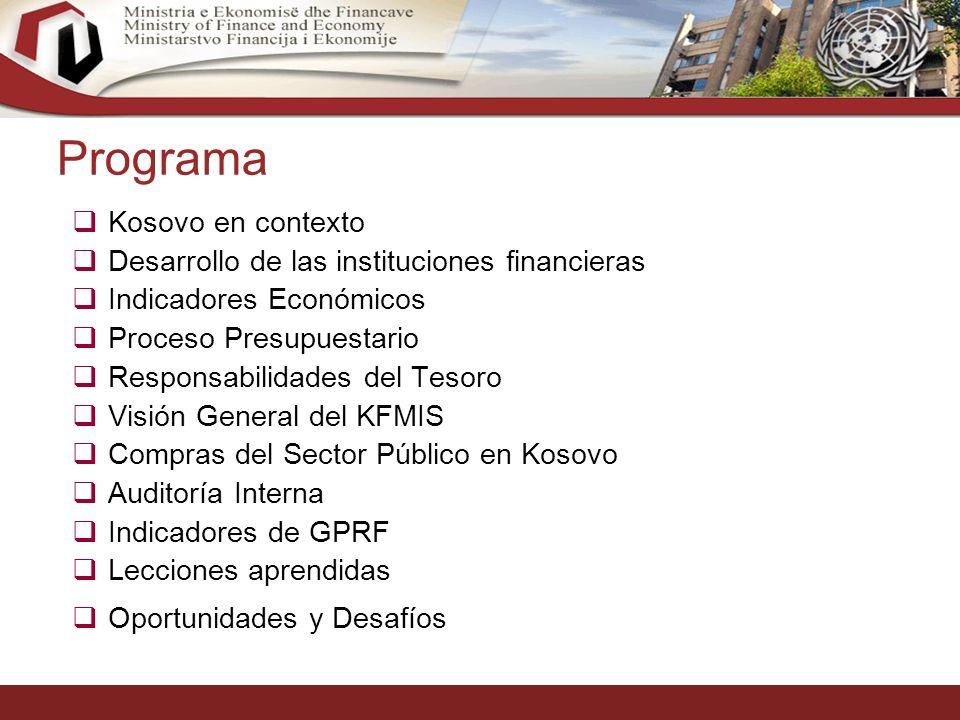 2 Programa Kosovo en contexto Desarrollo de las instituciones financieras Indicadores Económicos Proceso Presupuestario Responsabilidades del Tesoro Visión General del KFMIS Compras del Sector Público en Kosovo Auditoría Interna Indicadores de GPRF Lecciones aprendidas Oportunidades y Desafíos