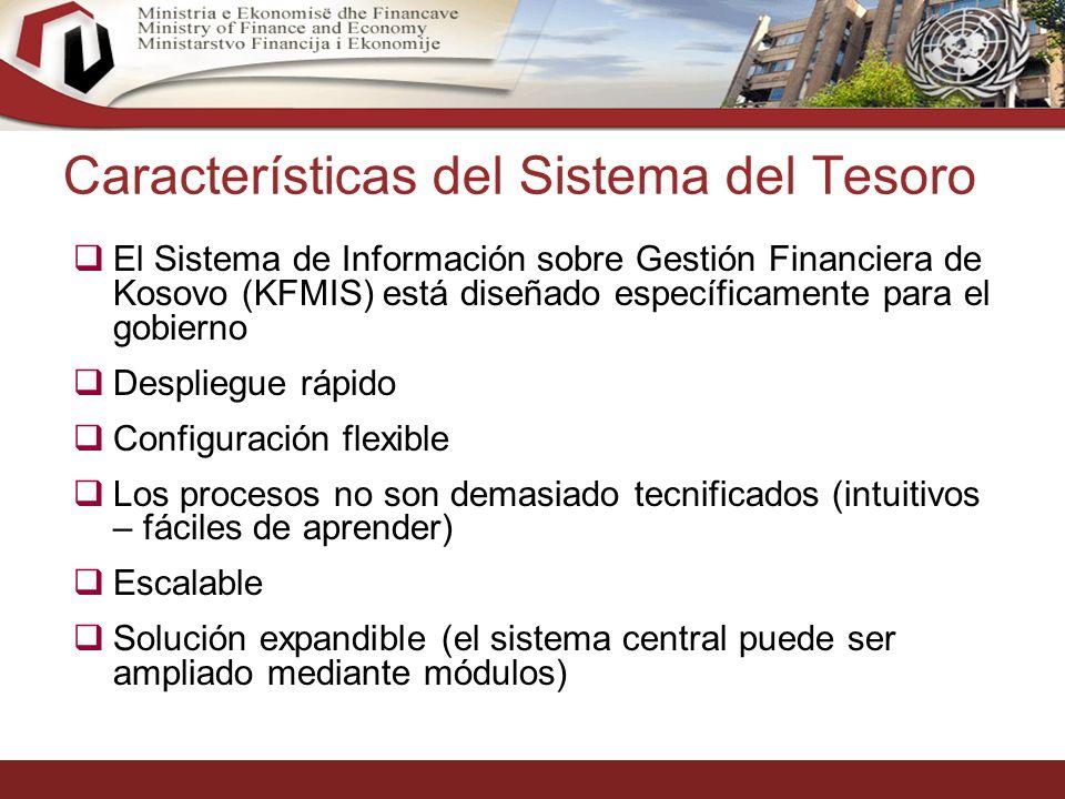 20 Características del Sistema del Tesoro El Sistema de Información sobre Gestión Financiera de Kosovo (KFMIS) está diseñado específicamente para el gobierno Despliegue rápido Configuración flexible Los procesos no son demasiado tecnificados (intuitivos – fáciles de aprender) Escalable Solución expandible (el sistema central puede ser ampliado mediante módulos)