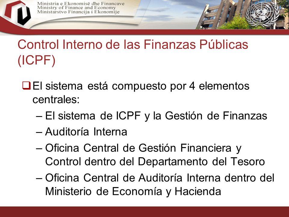 30 Control Interno de las Finanzas Públicas (ICPF) El sistema está compuesto por 4 elementos centrales: –El sistema de ICPF y la Gestión de Finanzas –Auditoría Interna –Oficina Central de Gestión Financiera y Control dentro del Departamento del Tesoro –Oficina Central de Auditoría Interna dentro del Ministerio de Economía y Hacienda
