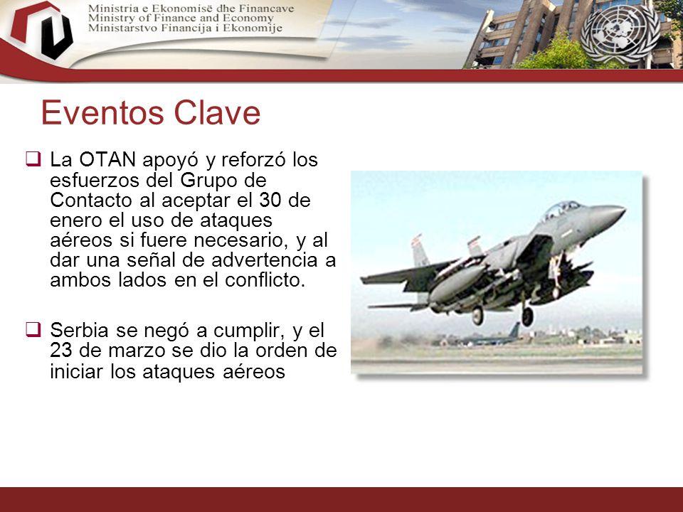 5 Eventos Clave La OTAN apoyó y reforzó los esfuerzos del Grupo de Contacto al aceptar el 30 de enero el uso de ataques aéreos si fuere necesario, y al dar una señal de advertencia a ambos lados en el conflicto.