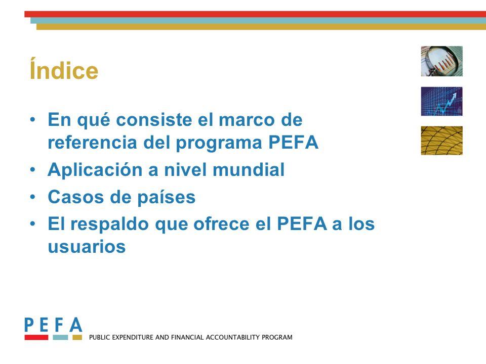 En qué consiste el marco de referencia del programa PEFA Aplicación a nivel mundial Casos de países El respaldo que ofrece el PEFA a los usuarios Índice