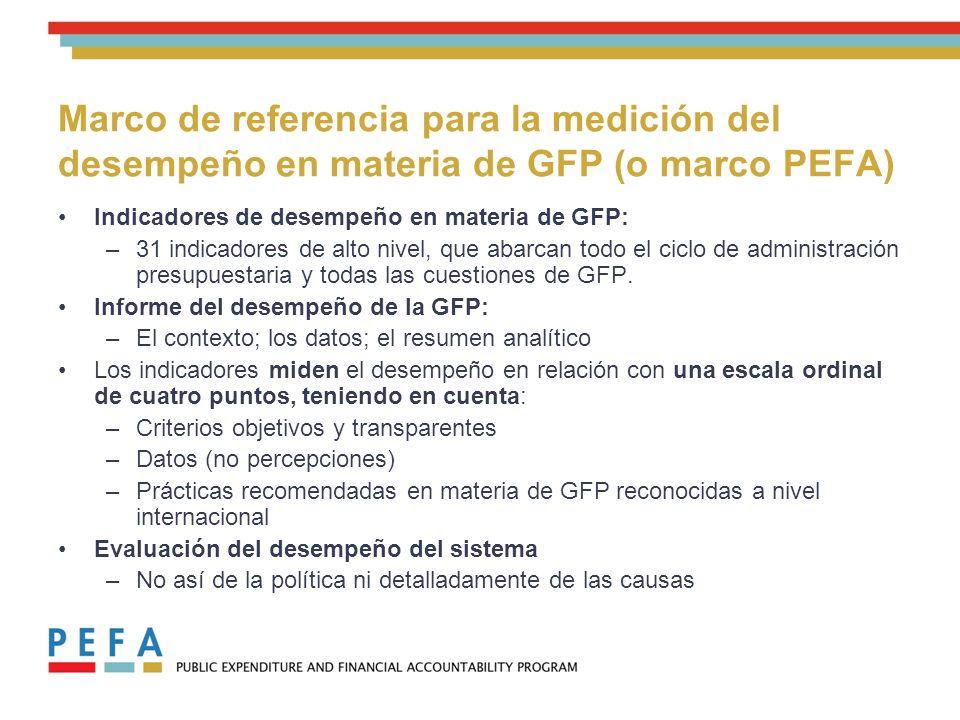 Marco de referencia para la medición del desempeño en materia de GFP (o marco PEFA) Indicadores de desempeño en materia de GFP: –31 indicadores de alto nivel, que abarcan todo el ciclo de administración presupuestaria y todas las cuestiones de GFP.
